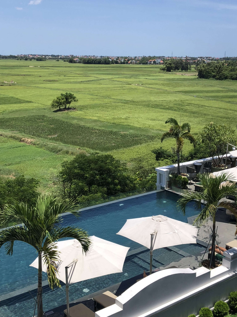 La Senta pool overlooking rice fields