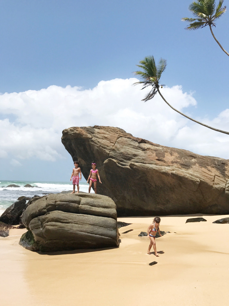 Kids beach rocks