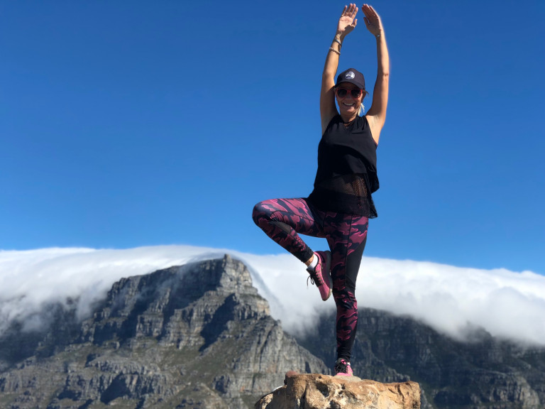 Yoga pose above the clouds