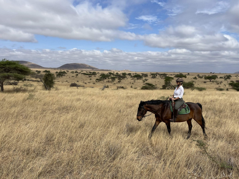Riding in the open plains