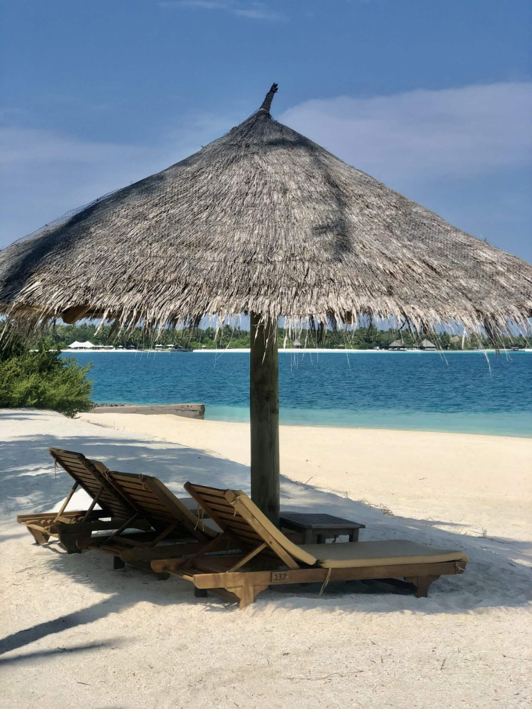 Private beach area outside the beach villas