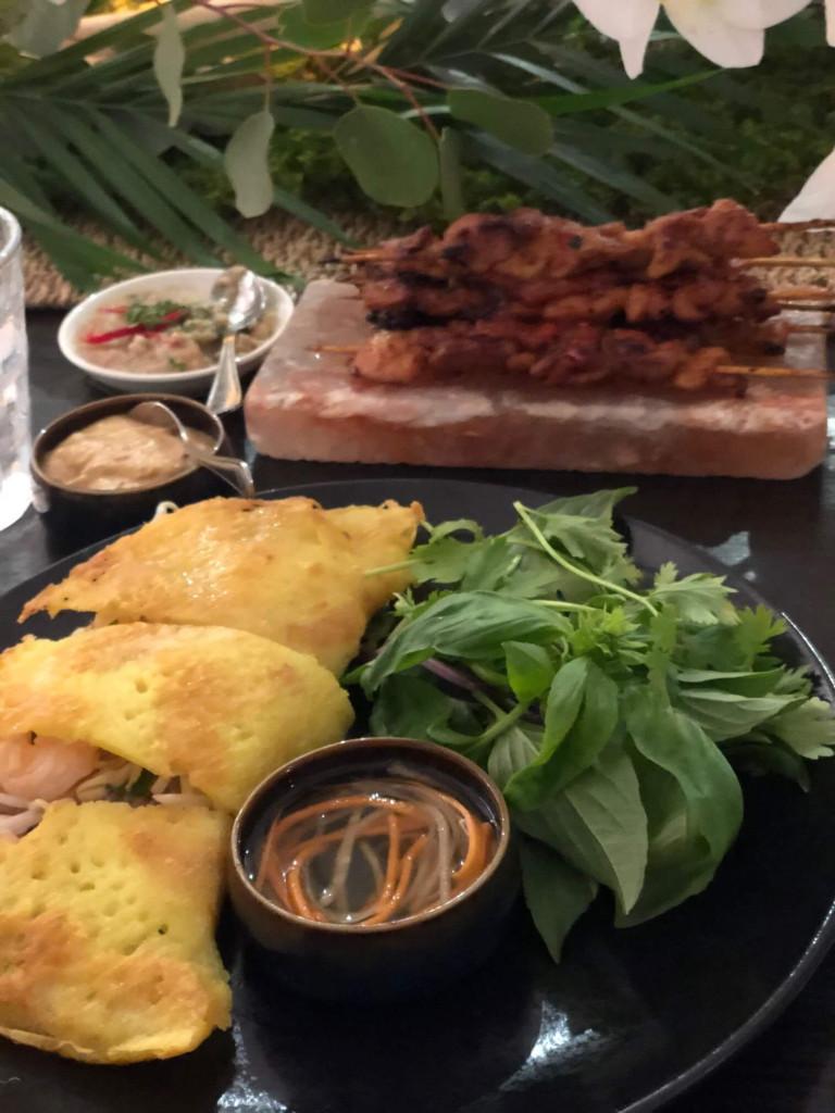 Vietnamese Banh Xeo, Indonesian Satay Ayam