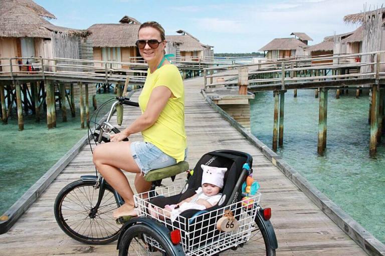 Biking back to our villa