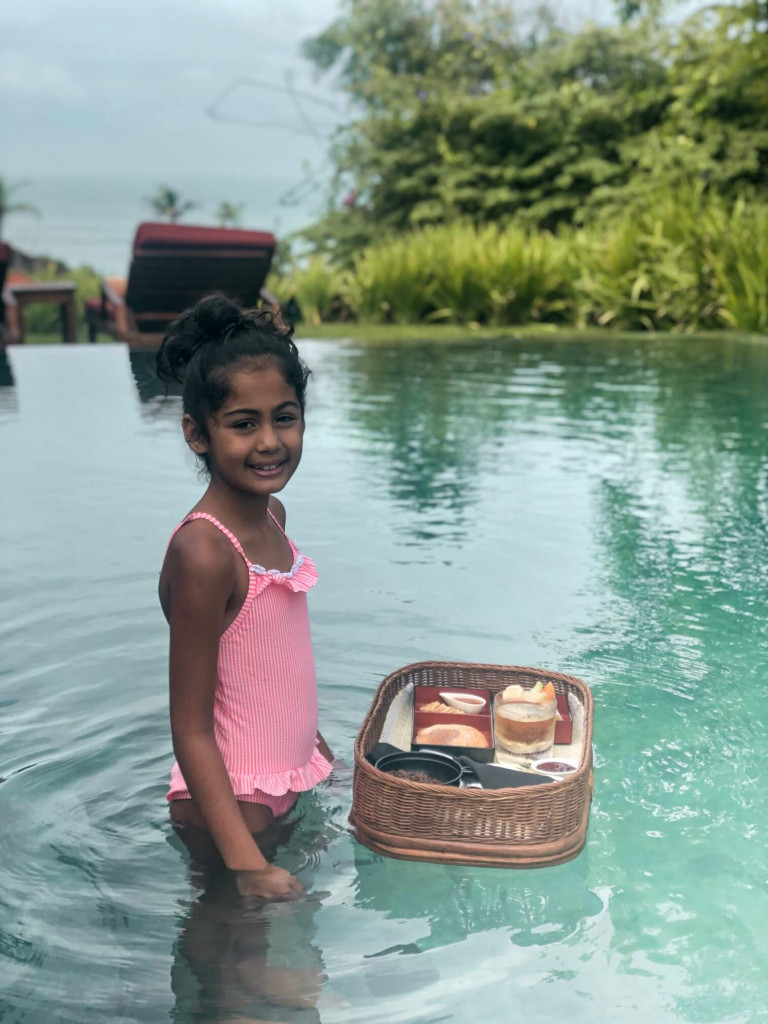 Amara with her floating breakfast