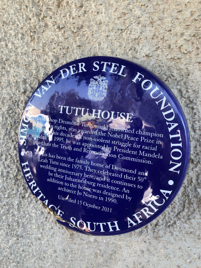 The plaque outside Tutu's home in Soweto
