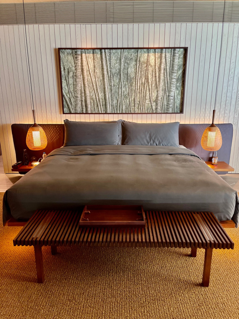 Calming grey bed sheets are unique to Maldives