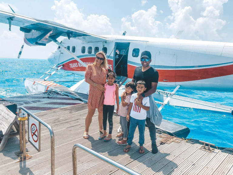 Arriving at Soneva Fushi by seaplane