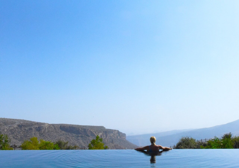 The stunning view from our villa pool
