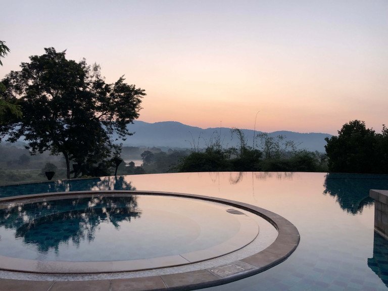 Pool views at sunrise